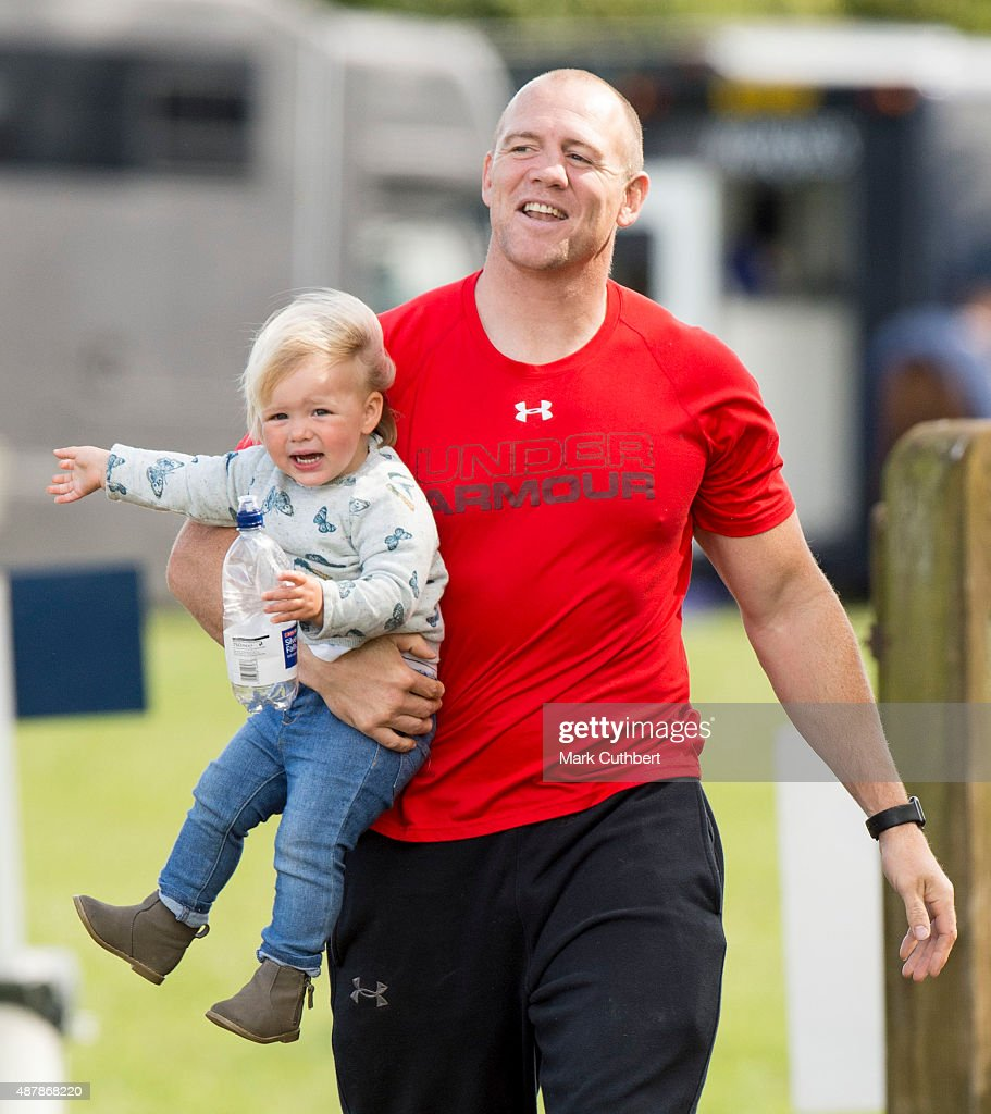 Mia Tindall and Mike Tindall attend the Whatley Manor International Horse Trials at Gatcombe Park on September 12, 2015 in Stroud, England.