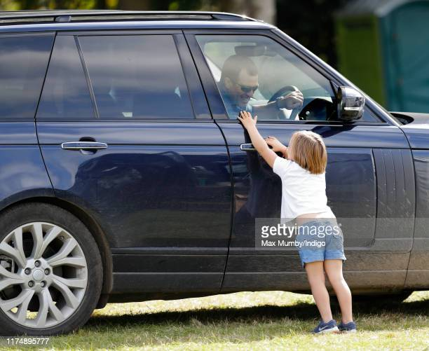 Mia Tindall and Peter Phillips attend day 3 of the Whatley Manor Gatcombe International Horse Trials at Gatcombe Park on September 15 2019 in Stroud...