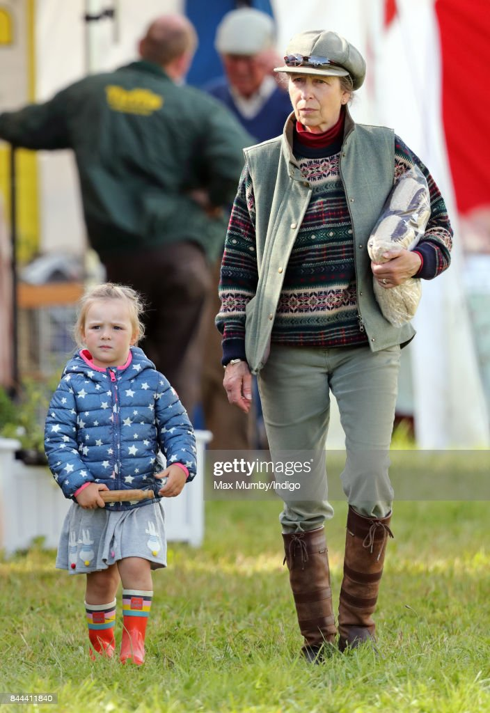 Mia Tindall and Princess Anne, The Princess Royal attend the Whatley Manor Horse Trials at Gatcombe Park on September 8, 2017 in Stroud, England.
