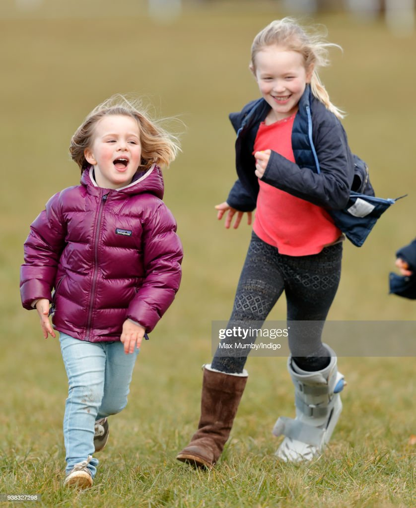 Mia Tindall and Savannah Phillips attend the Gatcombe Horse Trials at Gatcombe Park on March 25, 2018 in Stroud, England.