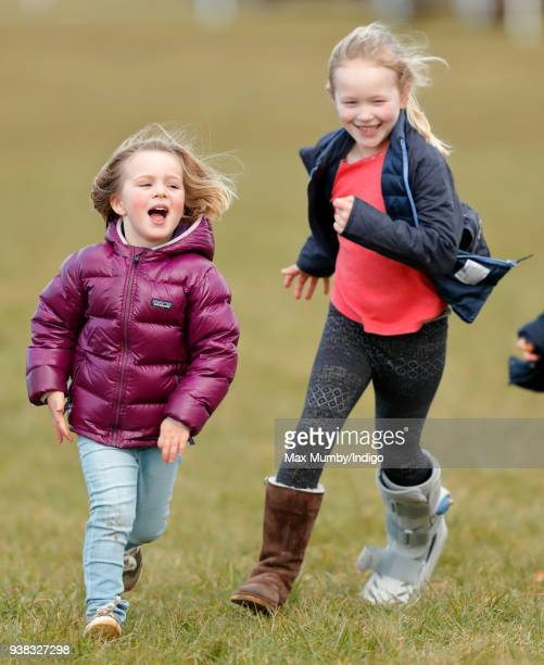Mia Tindall and Savannah Phillips attend the Gatcombe Horse Trials at Gatcombe Park on March 25 2018 in Stroud England