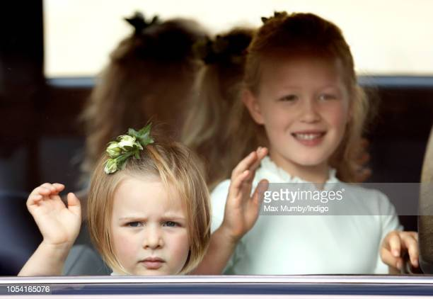 Mia Tindall and Savannah Phillips attend the wedding of Princess Eugenie of York and Jack Brooksbank at St George's Chapel on October 12 2018 in...