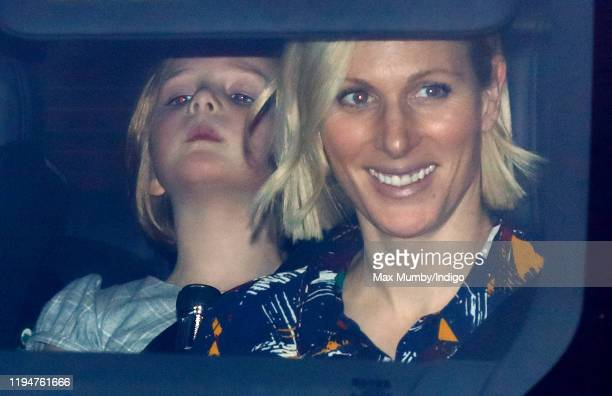 Mia Tindall and Zara Tindall attend a Christmas lunch for members of the Royal Family hosted by Queen Elizabeth II at Buckingham Palace on December...