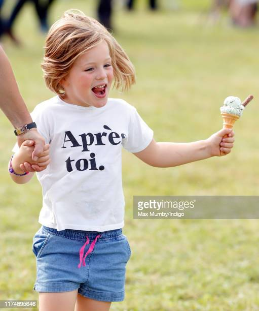 Mia Tindall eats an ice cream as she attends day 3 of the Whatley Manor Gatcombe International Horse Trials at Gatcombe Park on September 15 2019 in...