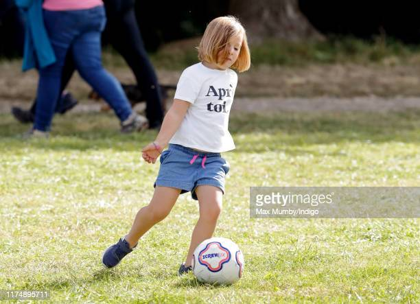 Mia Tindall plays football as she attends day 3 of the Whatley Manor Gatcombe International Horse Trials at Gatcombe Park on September 15 2019 in...