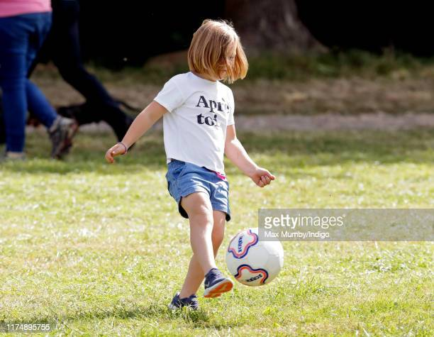 Mia Tindall plays football as she attends day 3 of the Whatley Manor Gatcombe International Horse Trials at Gatcombe Park on September 15, 2019 in...