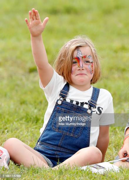 Mia Tindall seen wearing face paint watches a falconry demonstration as she attends day 3 of the 2019 Festival of British Eventing at Gatcombe Park...