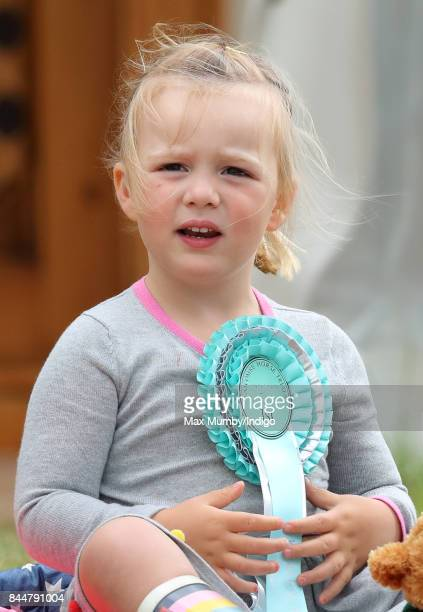 Mia Tindall wears her mother Zara Phillips' 1st place rosette as she attends the Whatley Manor Horse Trials at Gatcombe Park on September 8 2017 in...