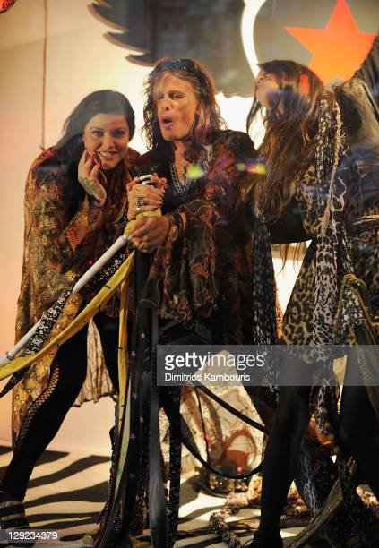 Mia Tyler musician Steven Tyler and Chelsea Tallarico attend the Andrew Charles fashion line launch at Macy's Herald Square on October 14 2011 in New...