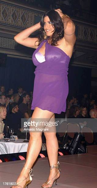 Mia Tyler the daughter of Aerosmith's Steven Tyler walks on the runway during the Lane Bryant fashion show February 4 2003 at the Hammerstein...