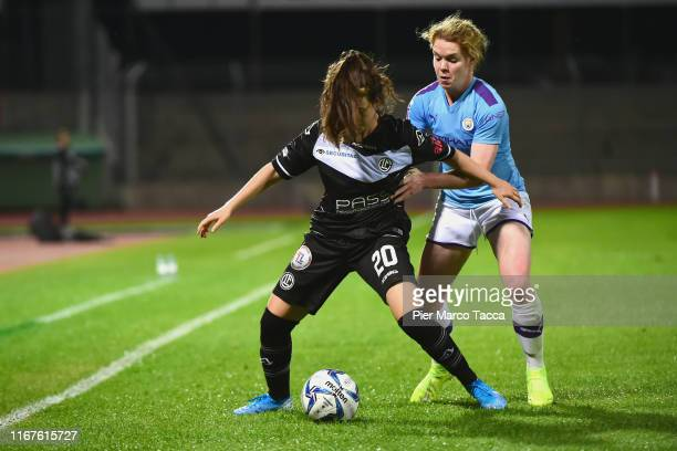 Mia Von Ballmoos of FF Lugano competes for the ball with Aoife Mannion of Manchester City Women during the UEFA Womens Champions League match between...
