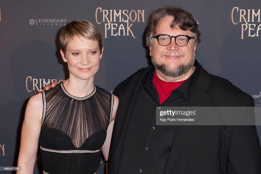 Mia Wasikowska and Guillermo del Toro ) attend the 'Crimson Peak' Paris Premiere at UGC Cine Cite Bercy on September 28, 2015 in Paris, France.