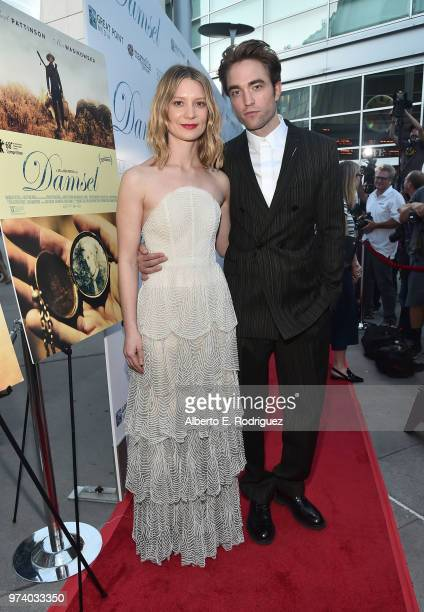 Mia Wasikowska and Robert Pattinson attend the premiere of Magnolia Pictures' 'Damsel' at ArcLight Hollywood on June 13 2018 in Hollywood California