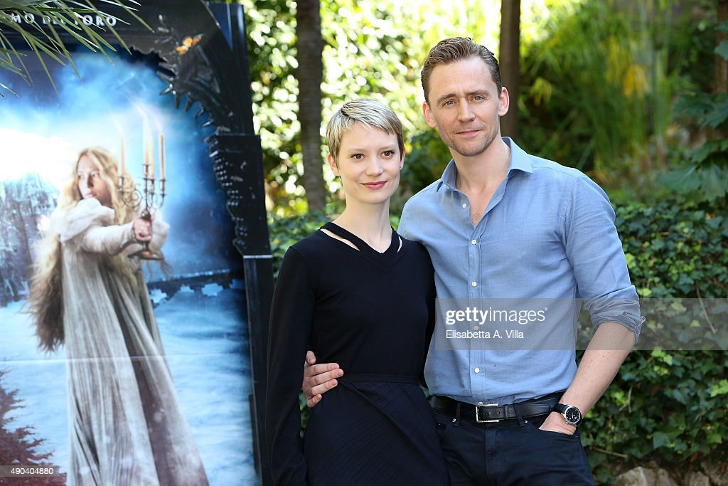 Mia Wasikowska and Tom Hiddleston attend a photocall for 'Crimson Peak' at Le Jardin de Russie on September 28, 2015 in Rome, Italy.