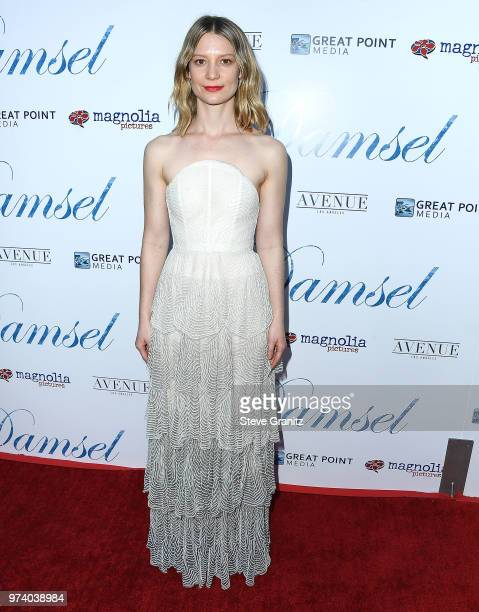 Mia Wasikowska arrives at the Magnolia Pictures' 'Damsel' Premiere at ArcLight Hollywood on June 13 2018 in Hollywood California