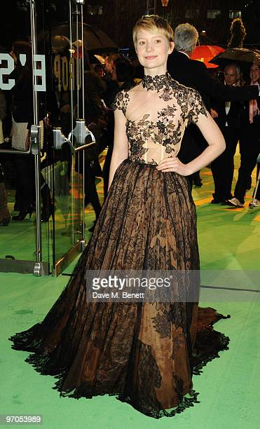 Mia Wasikowska arrives at the Royal World Premiere of 'Alice In Wonderland' at the Odeon Leicester Square on February 25 2010 in London England