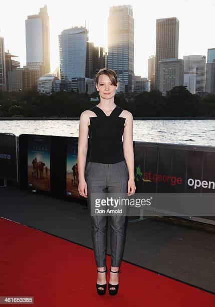 Mia Wasikowska arrives at the St George Openair Cinema Tracks premiere on January 10 2014 in Sydney Australia
