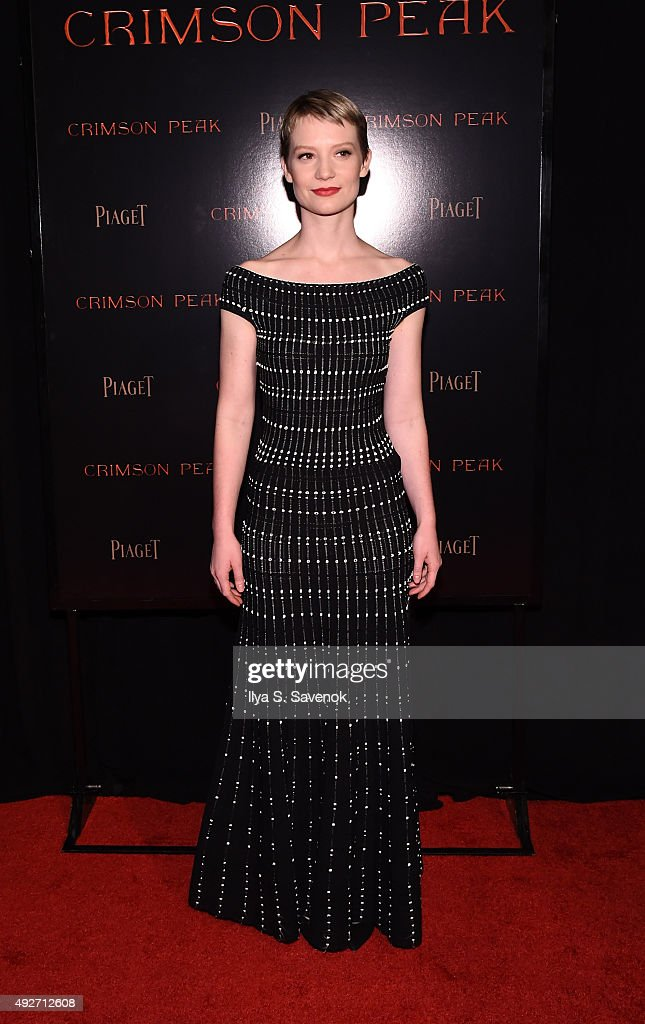Mia Wasikowska attends Piaget Co-Hosts The Crimson Peak Premiere on October 14, 2015 in New York City.