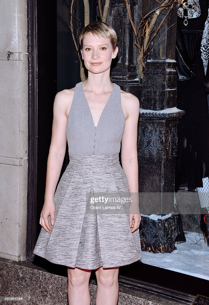 Mia Wasikowska attends the Bergdorf Goodman 'Crimson Peak' inspired window unveiling at Bergdorf Goodman on October 13, 2015 in New York City.