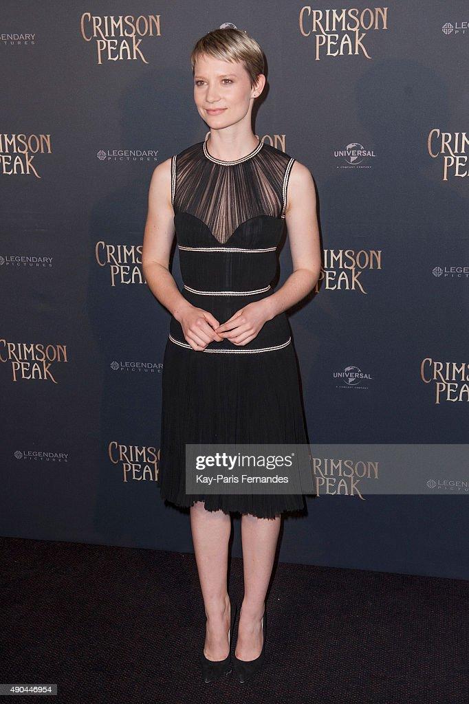 Mia Wasikowska attends the 'Crimson Peak' Paris Premiere at UGC Cine Cite Bercy on September 28, 2015 in Paris, France.
