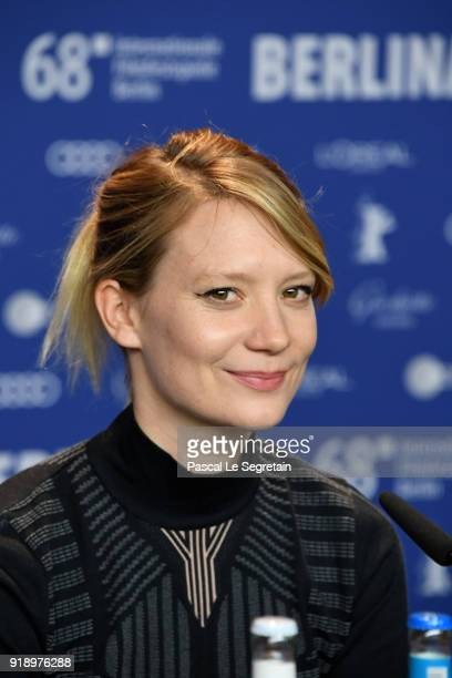 Mia Wasikowska attends the 'Damsel' press conference during the 68th Berlinale International Film Festival Berlin at Grand Hyatt Hotel on February 16...