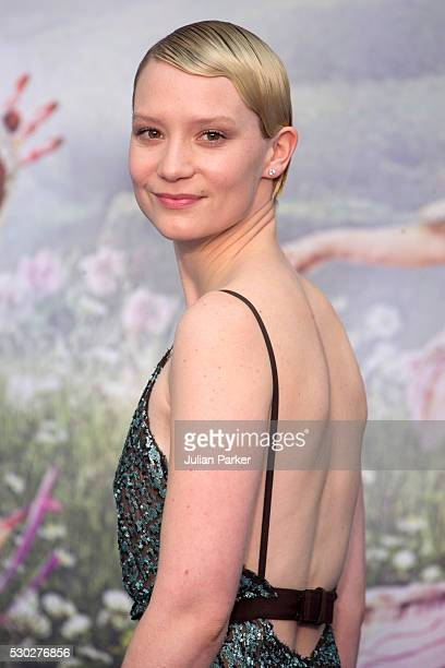 Mia Wasikowska attends the European premiere of 'Alice Through The Looking Glass' at Odeon Leicester Square on May 10 2016 in London England
