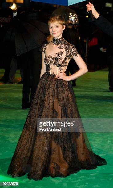 Mia Wasikowska attends the Royal World Premiere of Alice In Wonderland at the Odeon Leicester Square on February 25 2010 in London England