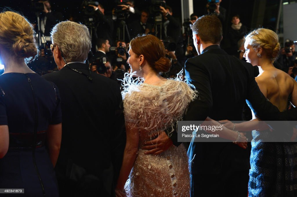 Mia Wasikowska, David Cronenberg, Julianne Moore, Robert Pattinson and Sarah Gadon attend the 'Maps To The Stars' premiere during the 67th Annual Cannes Film Festival on May 19, 2014 in Cannes, France.