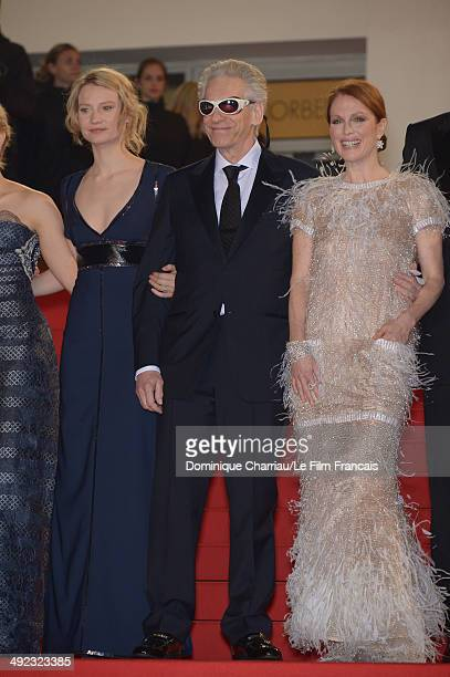 Mia Wasikowska director David Cronenberg and Julianne Moore attends the 'Maps To The Stars' Premiere at the 67th Annual Cannes Film Festival on May...