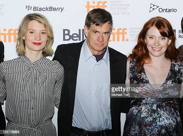 Mia Wasikowska Gus Van Sant and Bryce Dallas Howard arrive at the 'Restless' premiere during the 2011 Toronto Film Festival held at Ryerson Theatre...