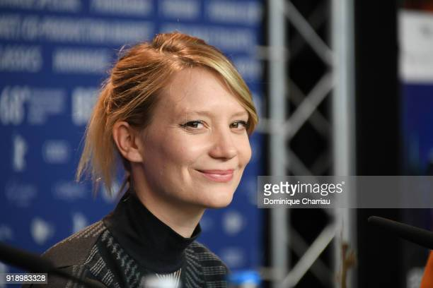 Mia Wasikowska is seen at the 'Damsel' press conference during the 68th Berlinale International Film Festival Berlin at Grand Hyatt Hotel on February...