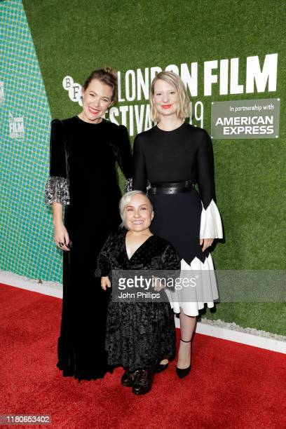 Mia Wasikowska Kiruna Stamell and Mirrah Foulkes attend the Judy Punch Premiere during the 63rd BFI London Film Festival at the Embankment Gardens...