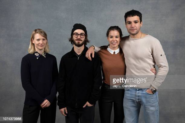"""Mia Wasikowska, Nicolas Pesce, Laia Costa and Christopher Abbott from """"Piercing are photographed for Los Angeles Times on January 21, 2018 in the..."""