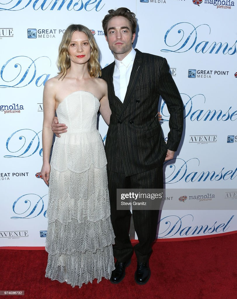 Mia Wasikowska, Robert Pattinson arrives at the Magnolia Pictures' 'Damsel' Premiere at ArcLight Hollywood on June 13, 2018 in Hollywood, California.