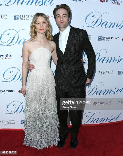 Mia Wasikowska Robert Pattinson arrives at the Magnolia Pictures' 'Damsel' Premiere at ArcLight Hollywood on June 13 2018 in Hollywood California