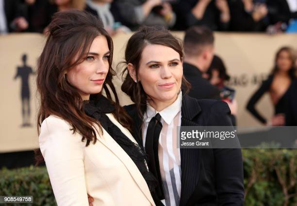Mia Weier and actor Clea DuVall attend the 24th Annual Screen ActorsGuild Awards at The Shrine Auditorium on January 21 2018 in Los Angeles...