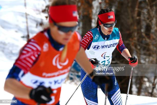 Mia Zutter of the United States and her guide Kristina TrygstadSaari compete in the Women's 75 km Visually Impaired Classic at Alpensia Biathlon...