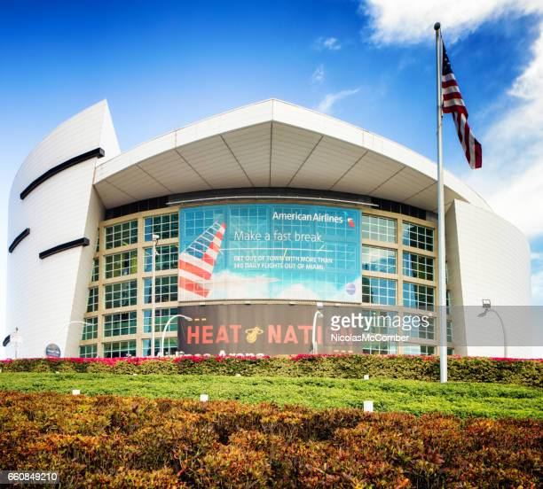 Miami American Airlines stadium facade with flag