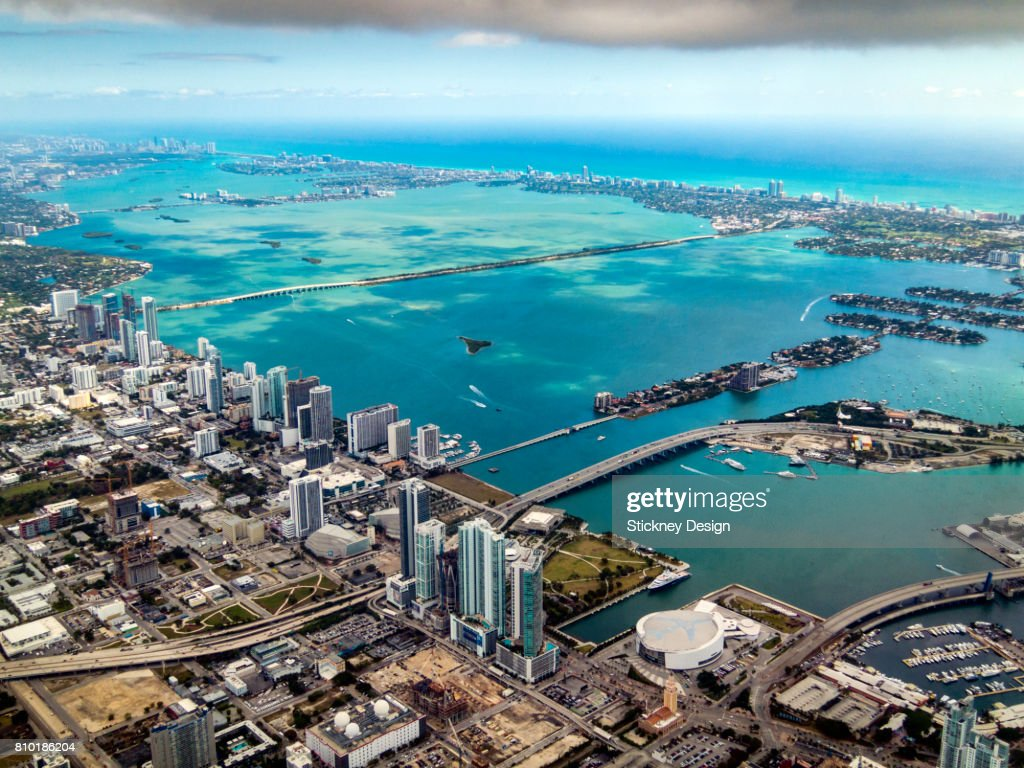 Miami and Biscayne Bay Aerial-1940 : ストックフォト