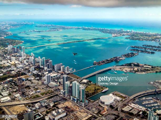 miami and biscayne bay aerial-1940 - downtown miami stock pictures, royalty-free photos & images