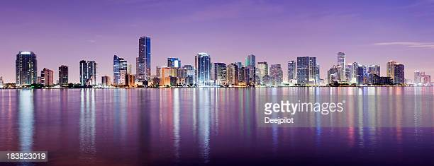 Miami And Brickell City Skyline at Night USA