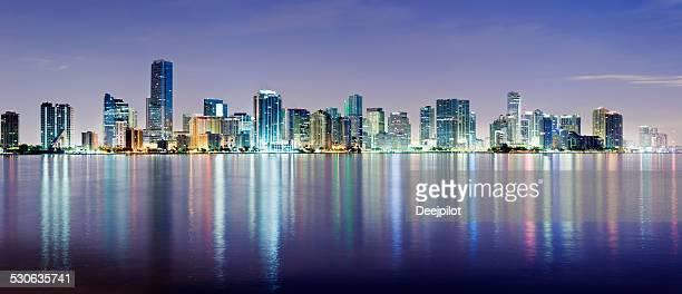 Miami and Brickell City Skyline at Night USA