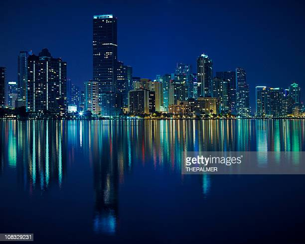 miami at night - downtown miami stock pictures, royalty-free photos & images