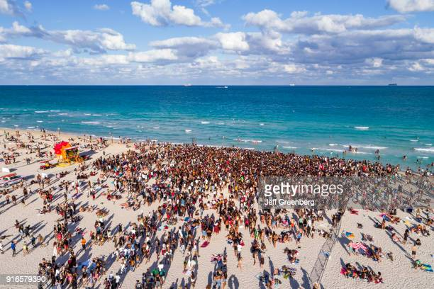 Miami Beach Aerial of Spring Break Crowds