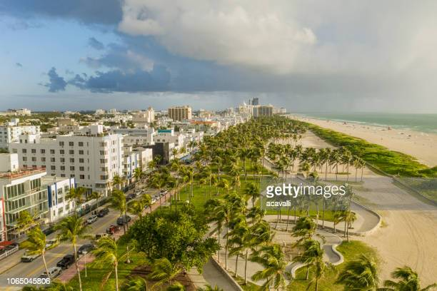 miami beach. aerial view of south beach. - miami foto e immagini stock