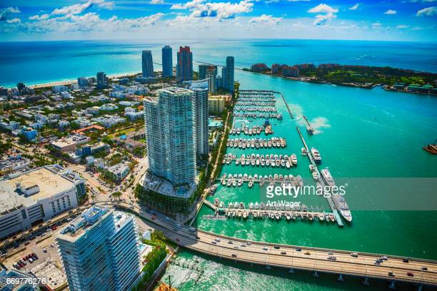 miami beach aerial view - fisher island stock pictures, royalty-free photos & images