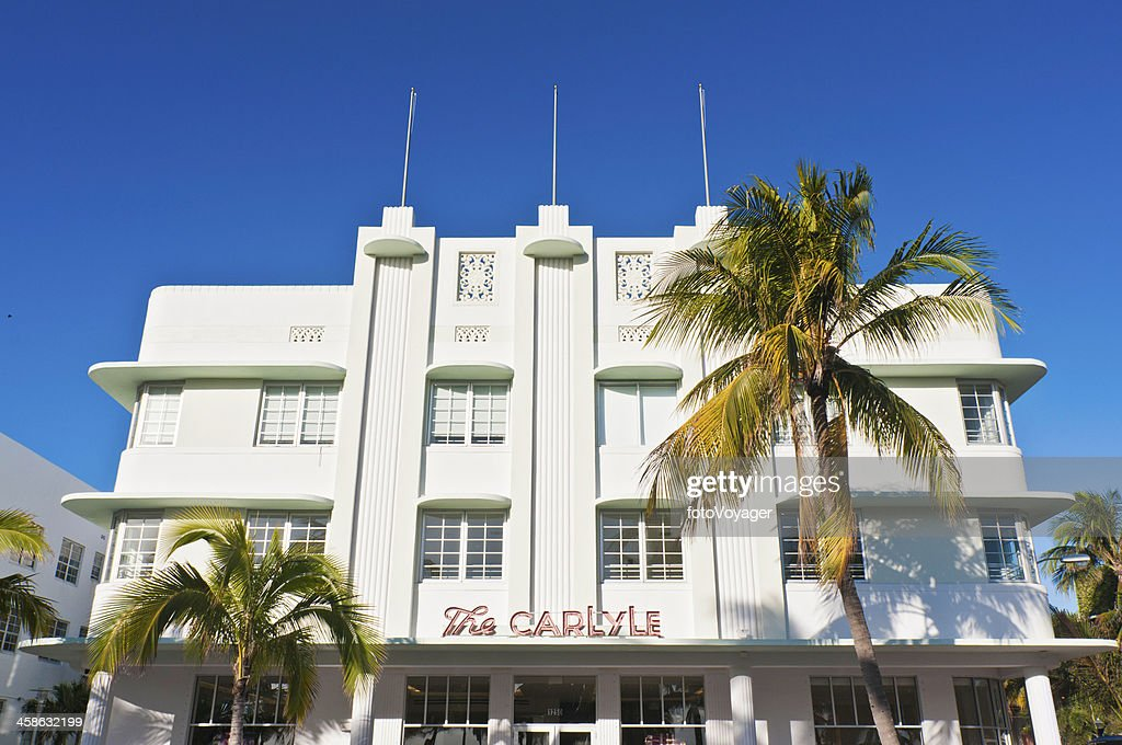 Miami Beach Art Deco Hotel Palm Trees Florida Stock Photo