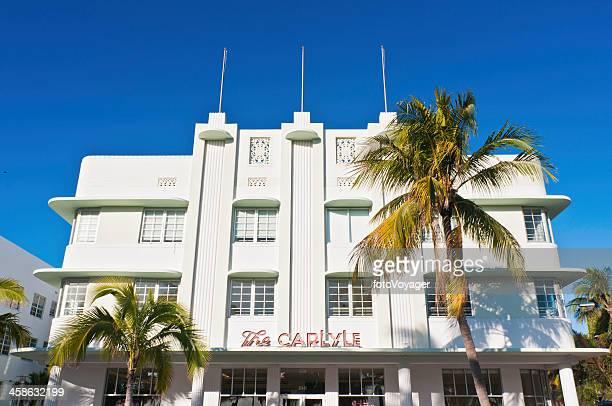 Miami Beach art deco hotel palm trees Florida