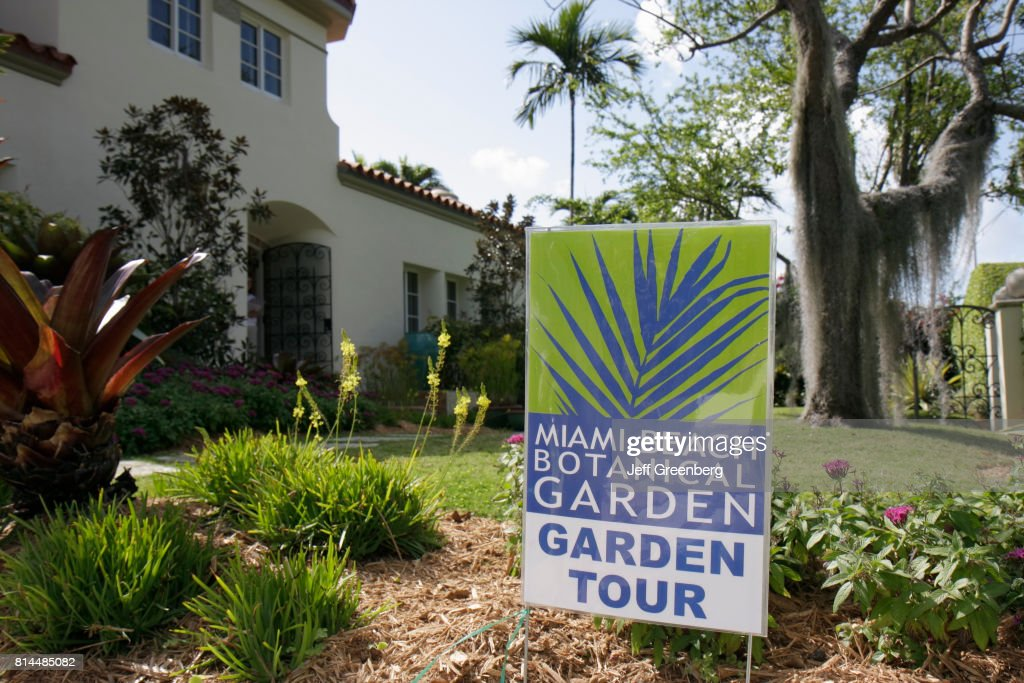 Miami Beach Botanical Garden, Garden Tour Sign Outside A House On 3001 Pine  Tree Drive