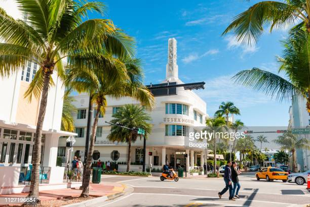 miami beach collins avenue city street scene florida usa - miami beach stock pictures, royalty-free photos & images